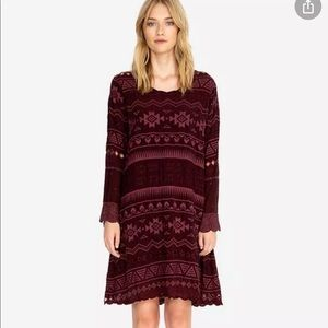 Johnny Was Avery maroon embroidered dress